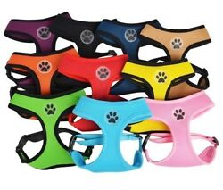 Dog Puppy Mesh Harness Soft Breathable Paw Design 10 Colors XS S M L