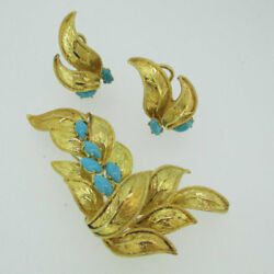 18k Yellow Gold Leaf Brooch Pin And Earring Set With Sleeping Beauty Turquoise
