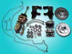 1955-1957 Chevrolet Power Front Disc Brake Conversion 2 Drop Drilled Slotted
