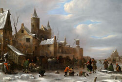 Dream-art Oil Painting Ancient Old Town Village Winter Landscape People Church