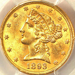 1893 5 Ms63 Pcgs-only 283 In Higher Grade-liberty Head