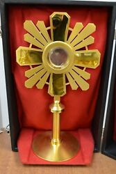 + Nice French Monstrance In Original Case + 17 3/4 Ht. + Chalice Co. + Cu-m3