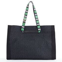 LANVIN green python printed leather strap black straw woven large beach tote bag