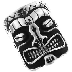 Large Hawaii Tiki Ghost Mens Silver Stainless Steel Heavy Ring