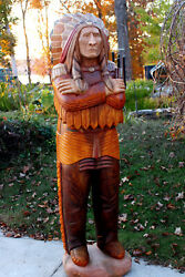 Wooden Indian Wood Cigar Store Chief Life Size 6and039 Signed And039ed Dated Free Ship
