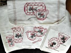 Vintage Hand Embroidered Kitchen Tea Hand Towel Lot Scottish Terrier Scottie Dog