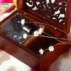 Rectangle Wood Carving Jewelry Music Box ♫ Raindrops Keep Falling On My Head