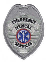 EMS Emergency Medical Service Badge Patch in Gold or Silver Color