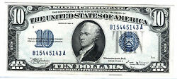 1934b 10 Blue Seal Silver Certificate, Key And Second Rarest Of 10 Sc After1933