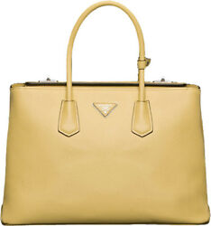 BRAND NEW YELLOW PRADA POLLINE SAFFIANO CUIR LARGE LEATHER WOMEN'S TWIN TOTE BAG