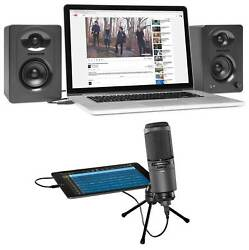 Audio Technica AT2020USBi Condenser USB Recording Microphone+Samson Monitors