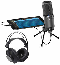 Audio Technica AT2020USBi USB Recording Studio Microphone Mic + AKG Headphones
