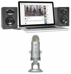 Blue Yeti Studio USB Recording Podcast Podcasting Microphone+(2) Samson Monitors