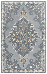 Rizzy Rugs Gray Traditional-european Leaves Wool Area Rug Medallion Rs933a