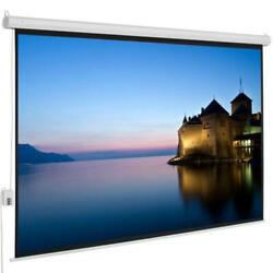 100quot; 4:3 Electric Remote Control Projection Screen HD Movie Theater Matte White