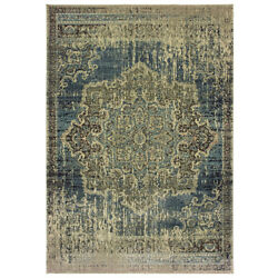 Sphinx Blue Rings Petals Faded Transitional Casual Area Rug Medallion 6649H