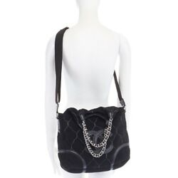 CHANEL Paris Moscou black contast stitched suede chain handle hobo bag crossbody