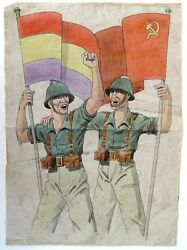 1936 Original Art For A Spanish Civil War Propaganda Poster Soldiers With Flags