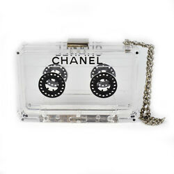 CHANEL CASSETTE CLUTCH - CLEAR CHAIN WRISTLET STRAP BAG CC CHARM TAPE HANDBAG
