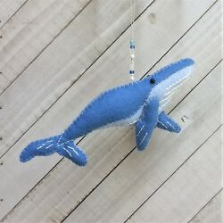 Christmas Ornament Felt Embroidery Kit Blue Whale  2-Sided