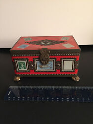 Rare Footed French Paris Louis Clauss Confectionery Candy Stamp Collection Tin