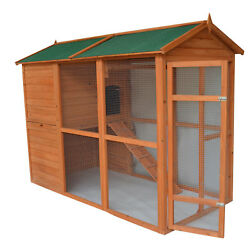 Pawhut Deluxe Large Backyard Chicken Coop Hen House with Outdoor Run