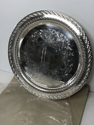 Wm Rogers And Son Silver Plate Spring Flower 12 Serving Tray 2070 W/ Sleeve