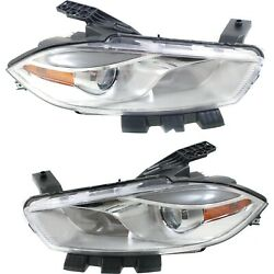 Headlight Set For 2016 Dodge Dart Left And Right Chrome Housing With Bulb 2pc