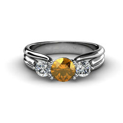 Citrine And Diamond Three Stone Ring With Thick Shank 1.26 Cttw 14k Gold Jp32618