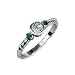 Diamond And Emerald 3 Stone Rope Ring 0.71 Ct Tw In 14k Gold Jp103558