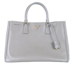 PRADA MILANO SAFFIANO GARDENERS PURSE TOTE BAG HANDBAG GREY USED AUTHENTIC