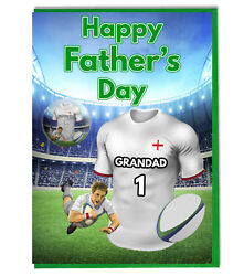 Fathers Day Rugby Badge Card For Grandad - Choose Any Rugby Team Shirt / Colours