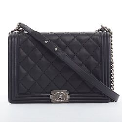 CHANEL Boy Large black leather diamond quilted leather silve chain shoulder bag
