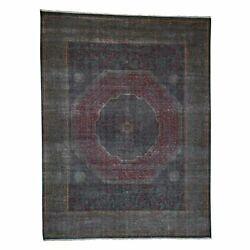 9and0396x13and03910 Vintage Look Mamluk Zero Pile Shaved Low Worn Wool Rug R41326