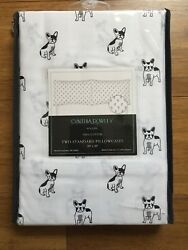CYNTHIA ROWLEY White French Bulldog Boston Terrier Dog Puppy Set2 Pillowcases