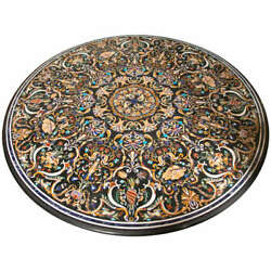 Black Marble Real Coffee Dining Table Top Pietra Dura Occasion Decor Gifts H611