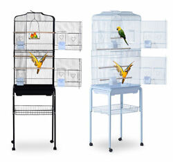 Bird Cage 63 Large Finch Parrot Conure Metal Wheels Play Top House Pet Supplies