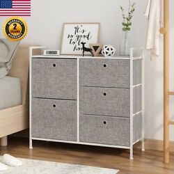 Faux Linen Home Dresser Tower Furniture Storage Cabinet with 5 Drawer Organizer