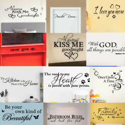Bathroom Rules Art Wall Stickers Vinyl Removable Decals Mural Home Room Decor US