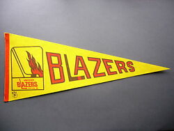 Early 1970and039s 1973/74 1974/75 Vancouver Blazers Wha Hockey Pennant Flag Sharp