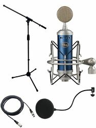 Blue Bluebird Microphone Bundle with Mic Boom Stand XLR Cable and Pop Filter