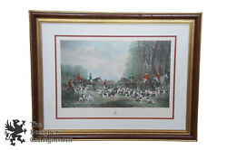 The Meet at Blagdon Engraving British Fox Hunt Equestrian Party Scene Dogs 38