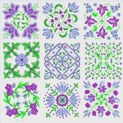 Anemone Quilt Squares 2 Machine Embroidery Designs-4 Sizes-cd-diskette-usb Stick