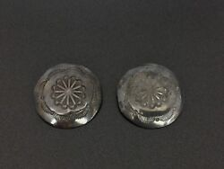 Vintage Yellowhorse Navajo Sterling Silver Concho Stampwork Buttons Set Of 2