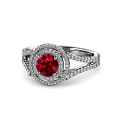 Ruby And Diamond Double Halo Engagement Ring 1.32 Carat Tw In 14k Gold Jp56753