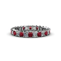 Ruby And Diamond Eternity Band 3.02-3.65 Carat Tw In 14k Gold Jp35304