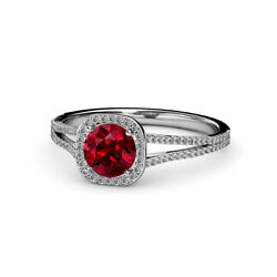 Ruby And Diamond Halo Engagement Ring 1.20 Carat Tw In 14k Gold Jp56922
