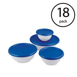 Sterilite 8 Piece Plastic Kitchen Covered Bowl Mixing Set With Lids 18 Pack