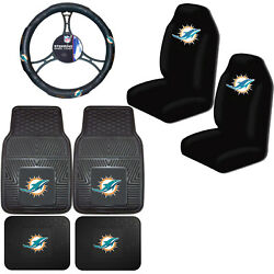 Nfl Miami Dolphins Car Truck Seat Covers Floor Mats And Steering Wheel Cover