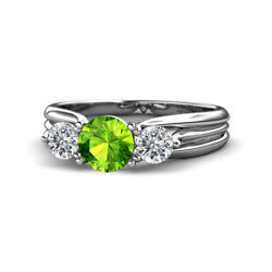 Peridot And Diamond 3 Stone Ring With Thick Shank 1.44 Carat Tw 14k Gold Jp32624